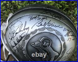 1972 Undefeated Miami Dolphins Team Signed Riddell Pewter Football Helmet 16/17