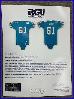 1989 Roy Foster Miami Dolphins SIGNED Game Used NFL Football Jersey #61 with LOA