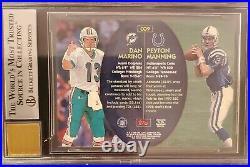 1998 Stadium Club Co-Signers Dan Marino Peyton Manning ROOKIE RC AUTO BGS 9 MINT