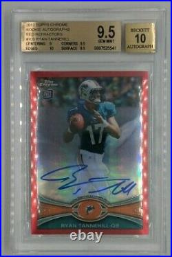2012 Topps Chrome Ryan Tannehill Red Refractor Auto Titans RC 5/5 BGS 9.5/10