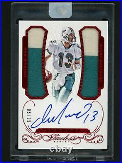 2015 Panini Flawless Ruby Dan Marino Autograph Jersey Patch Card #5/15 Dolphins