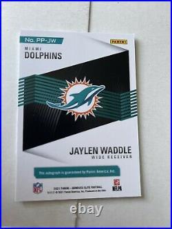 2021 Donruss Elite Pen Pals Jaylen Waddle RC On Card Auto Dolphins PURPLE Ink