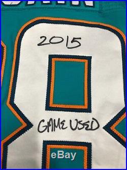 #28 Bobby Mccain Miami Dolphins Signed Game Used Aqua Jersey Jsa Witness Coa