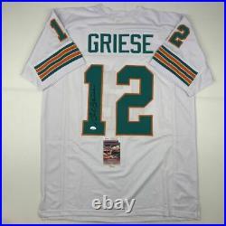 Autographed/Signed BOB GRIESE Miami White Football Jersey JSA COA Auto