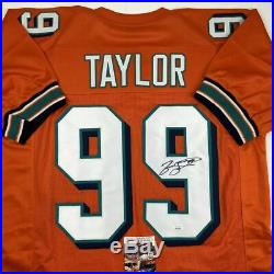 Autographed/Signed JASON TAYLOR Miami Orange Football Jersey JSA COA Auto