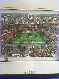 Charles Fazzino MIAMI DOLPHINS 21/300 Framed 29x25 Signed