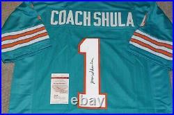 Coach DON SHULA 1972 Miami Dolphins Signed Aqua Jersey + JSA witness COA W549177