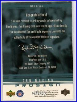 DAN MARINO 1999 Upper Deck MVP Pro Sign On Card Auto Autograph HOF Dolphins