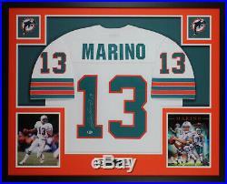 Dan Marino Autographed & Framed White Dolphins Jersey Auto Beckett COA D17-L