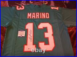 Dan Marino Autographed Miami Dolphins Teal Jersey, Beckett. 5$ Dollar Shipping