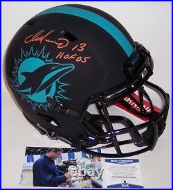 Dan Marino Signed Dolphins Eclipse Speed Full Size Authentic Pro Helmet Hof Bas