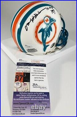 Don Shula Signed Miami Dolphins Throwback Mini Helmet Hof 97 NFL Auto +jsa Coa
