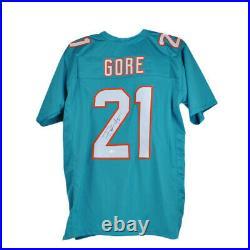 Frank Gore Miami Dolphins NFL #21 Signed Autograph Custom Aqua Jersey XL JSA
