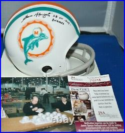 Garo Yepremian Signed 1972 2 Bar Tb Mini Helmet Miami Dolphins Sb Champs 7&8 Jsa