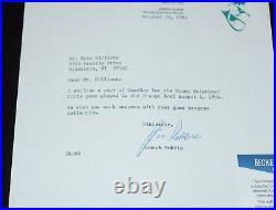 JOE ROBBIE Signed MIAMI DOLPHINS Original 1984 Letter + BECKETT BAS COA #E54927