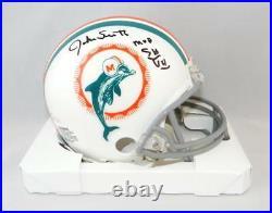 Jake Scott Autographed Miami Dolphins TB Mini Helmet with SB MVP JSA W Auth Blk