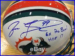 Jason Taylor #99 signed Miami Dolphins HOF 2017 Full Size NFL Helmet JSA Witness