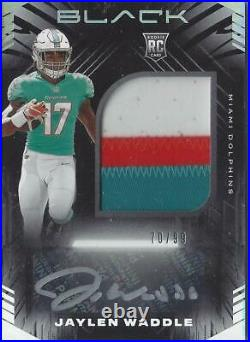 Jaylen Waddle Miami Dolphins 2021 Panini Black RPA Auto Patch RC 70/99