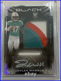 Jaylen Waddle Miami Dolphins 2021 Panini Black RPA Auto Patch RC 97/99
