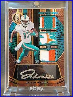 Jaylen Waddle RPA 2021 Panini Gold Standard /22 Triple Prime Patch Auto Dolphins