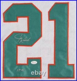 Jim Kiick Signed Miami Dolphins Jersey Inscribed 17-0(JSA) 2x Super Bowl Champ
