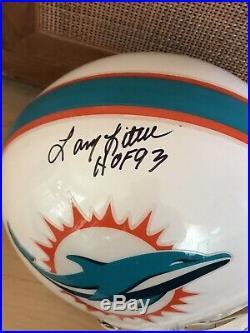 Larry Little Autographed Full Size Helmet, Dolphins HOF93 part of the 72 Team