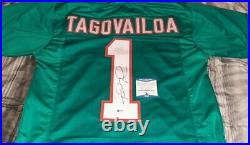Miami Dolphins Tua Tagovailoa Autographed Signed Teal Jersey Beckett