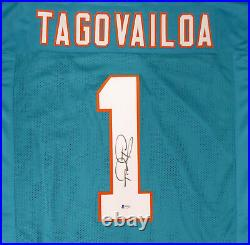 Miami Dolphins Tua Tagovailoa Autographed Signed Teal Jersey Beckett 179032