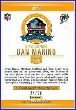 Rare Dan Marino Signed 2013 Panini Spectra Hall Of Fame Cardfootball Hof Auto