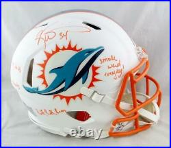 Ricky Williams Signed Dolphins F/S Flat White ProLine Helmet with3Insc- JSA W Auth