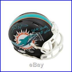 Ricky Williams Split Blunts Autographed Dolphins Flat Black Mini Helmet BAS COA