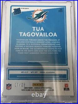 TUA TAGOVAILOA Black Pandora Prizm Rated Rookie On Card Auto 17/25 RC Dolphins