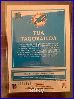 Tua Tagovailoa 2020 Panini Donruss Optic Rookie Card Auto 103/150