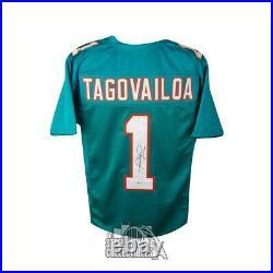 Tua Tagovailoa Autographed Miami Dolphins Custom Football Jersey BAS COA