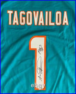 Tua Tagovailoa Autographed Miami Dolphins NFL Nike Game Jersey FINS UP Fanatics