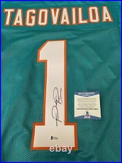 Tua Tagovailoa Dolphins Jersey Autographed COA By Beckett. Bid Or Buy Now $129