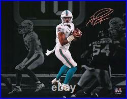 Tua Tagovailoa Miami Dolphins Signed 11 x 14 White Jersey Spotlight Photo