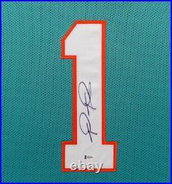 Tua Tagovailoa Signed 35x43 Custom Framed Miami Dolphins Jersey Beckett COA