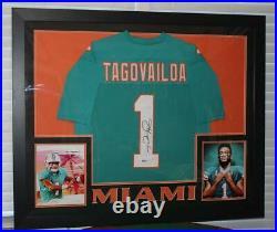 Tua Tagovailoa Signed 35x43 Custom Framed Miami Dolphins Jersey Beckett hologram