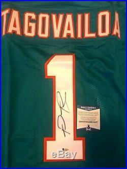 Tua Tagovailoa Signed Miami Dolphins Custom Jersey withBeckett COA